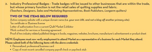 Quilt Market Credentials – Are You a Real Business?